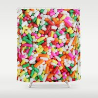 sprinkles Shower Curtains featuring Sprinkles by Beastie Toyz