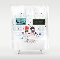 notebook Shower Curtains featuring Sweethearts on Notebook by Nonnetta
