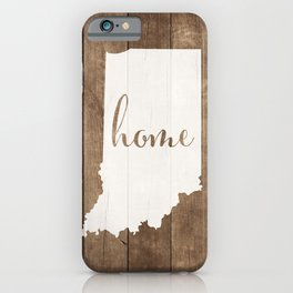 Indiana is Home - White on Wood iPhone Case