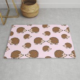 Cute little brown hedgehogs in pink love Rug