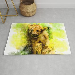 Baby lion in watercolor Rug