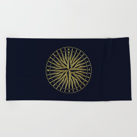 The golden compass- maritime print with gold ornament Beach Towel