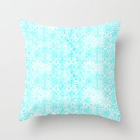 aqua Throw Pillows featuring Aqua Blue Damask by 2sweet4words Designs