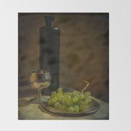 Still life with wine and green grapes Throw Blanket