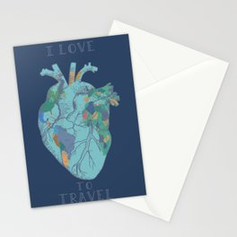 love to travel-world map 2 Stationery Cards