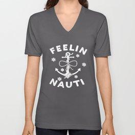 Life Is Good Womens Long Sleeve Crusher Vee Feelin Nauti Anchor T-Shirts Unisex V-Neck
