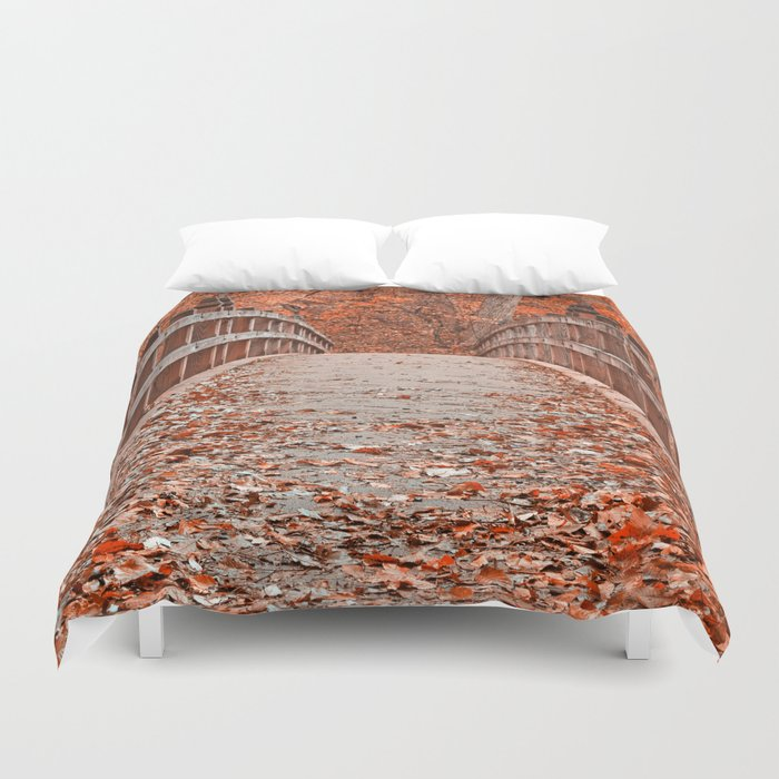 Ruby Red Bridge Duvet Cover