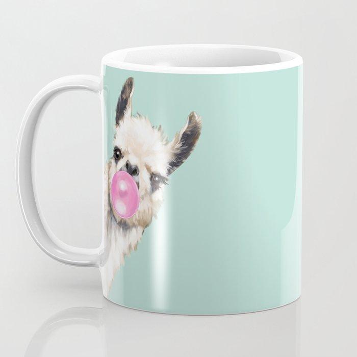 Bubble Gum Sneaky Llama in Green Coffee Mug