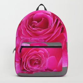 AWESOME FUCHSIA PINK ROSES  GREY PATTERN Backpack