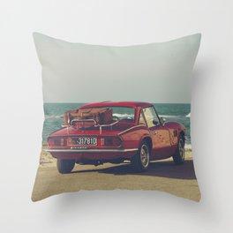 Triumph Spitfire by the sea, fine art photo, british car, sports car, classic car, supercar Throw Pillow