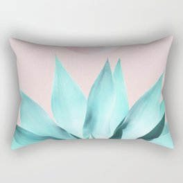 Stellar Agave and Full Moon - pastel aqua and pink Rectangular Pillow