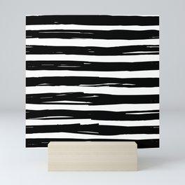 modern pattern with black and white irregular nautical horizontal stripes Mini Art Print