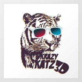 Crazy Tiger Art Print