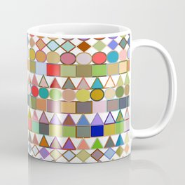 Modern Tribal Geometric, Multi Pastels on White Coffee Mug