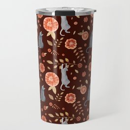 Flowers and climbing cats Travel Mug