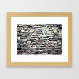 Grey tiles brick wall Framed Art Print