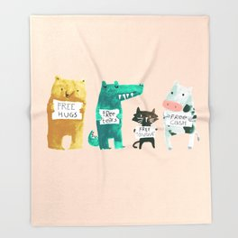 Animal idioms - its a free world Throw Blanket