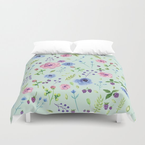 Watercolor flowers on mint Duvet Cover