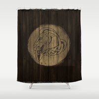 skyrim Shower Curtains featuring Shield's of Skyrim - Whiterun by VineDesign