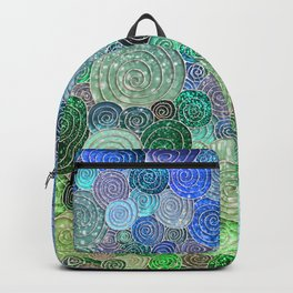 Abstract blue & green glamour glitter circles and polka dots for ladies Backpack