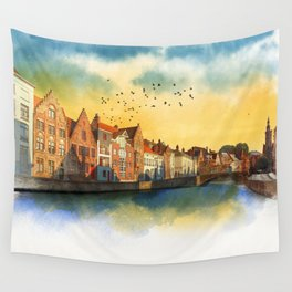 Landscape with beautiful medieval houses and canals. Bruges, Belgium. Wall Tapestry