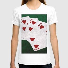 Poker Straight Flush Hearts T-shirt