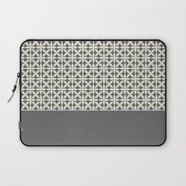 Pantone Cannoli Cream Square Petal Pattern on Pantone Pewter Laptop Sleeve