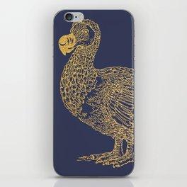 Gold dodo on patriot blue iPhone Skin