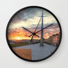 Station Square,Portrush,Ireland,Northern Ireland,Sunset Wall Clock