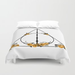 Deathly Hallows in Gold and Gray Duvet Cover