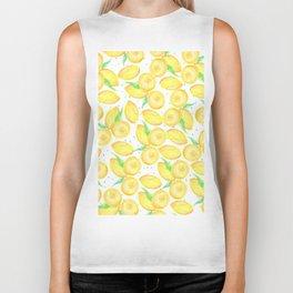 Sunshine yellow orange blue watercolor lemon fruit pattern Biker Tank