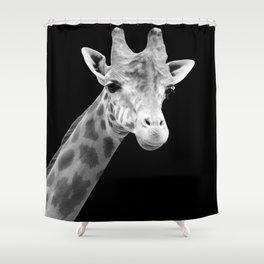 B&W Giraffe Portrait Shower Curtain