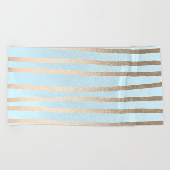 Abstract Drawn Stripes Gold Tropical Ocean Sea Turquoise Beach Towel