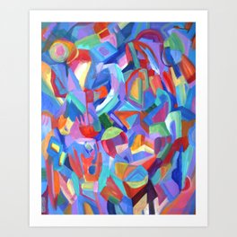 Distraction. An abstract expressionist, geometric painting. Art Print