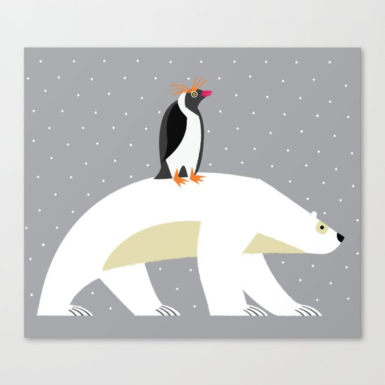 The Polar Bear and The Penguin Canvas Print