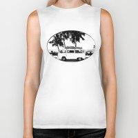 volkswagon Biker Tanks featuring Vintage Beach Van  by kishbish