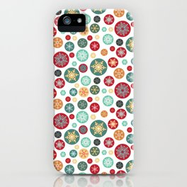 Retro Snowflake Christmas Ornaments iPhone Case