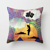 collage Throw Pillows featuring collage by mark ashkenazi