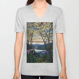 Louis Comfort Tiffany - Decorative stained glass 5. Unisex V-Neck