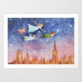 Peter Pan Sunset Nursery Decor Art Print