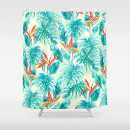 Tropical Paradise Pale Yellow Shower Curtain