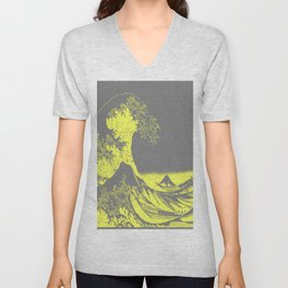 The Great Wave Yellow & Gray Unisex V-Neck