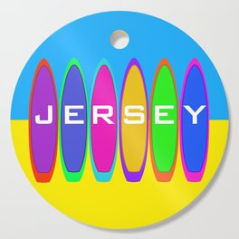 Jersey Surfboards on the Beach Cutting Board