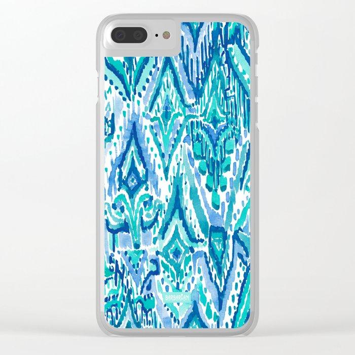 AQUA FRINGE TRIBAL Ikat Watercolor Clear iPhone Case