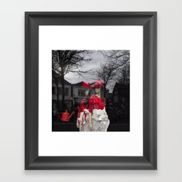 City girls with red hats Framed Art Print