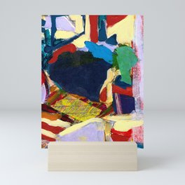 Blue, Red, Yellow, Cat Window Abstract Mini Art Print