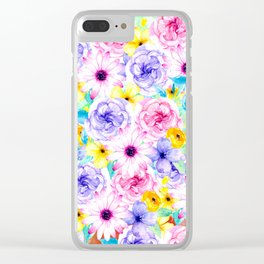 Pink lavender hand painted watercolor flowers Clear iPhone Case