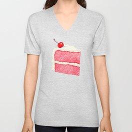 Cherry Cake Pattern - Pink Unisex V-Neck