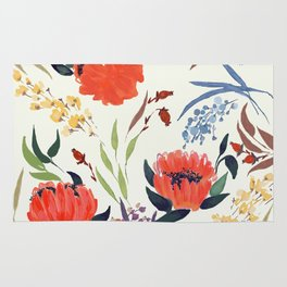 floral pattern hand draw watercolor Rug