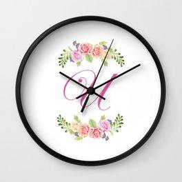 Floral Initial Letter U Wall Clock